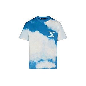 """LOUIS VUITTON - Camiseta Cloud Print """"Azul"""" -NOVO-"""