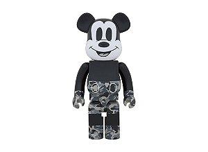"MEDICOM TOY x BAPE x DISNEY - Boneco Bearbrick Mickey Mouse 1000% "" Monotone"" -NOVO-"