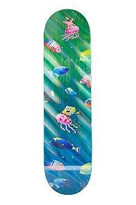 "SANTA CRUZ x BOB ESPONJA - Shape de Skate Bikini Bottom ""Azul/Verde"" -NOVO-"