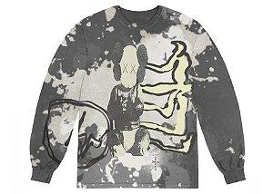 "TRAVIS SCOTT x KAWS x FRAGMENT DESING - Camiseta Manga Longa ""Multi Cinza"" -NOVO-"