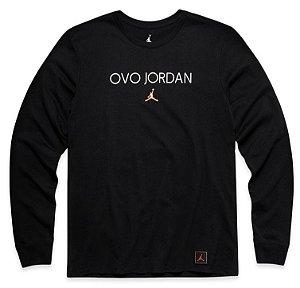 "OVO x Jordan Brand - Camiseta Manga Longa OVO JORDAN ""Black"""
