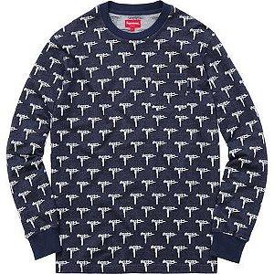 """SUPREME - Camiseta Manga Longa Jacquard Uzi """"Navy"""""""