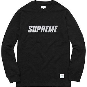 "SUPREME - Camiseta Manga Longa Metallic ""Black"""