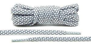 Cadarço Flat Refletivo - Branco e Cinza - 82 cm