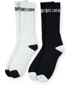 "THRASHER - Kit Com 2 Pares Meias Skate Destroy ""Black/White"""