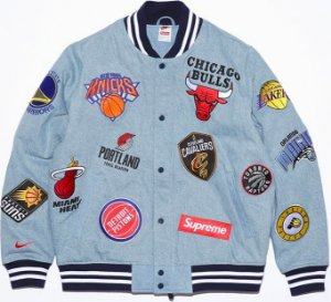 ENCOMENDA - SUPREME X NIKE X NBA - Jaqueta Denim Warm-Up