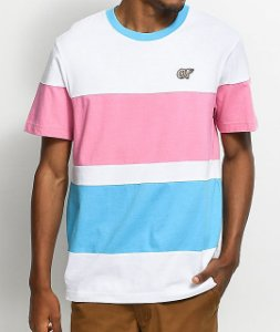 "ODD Future - Camiseta Colorblock Stripe  ""White/Pink/Blue"""