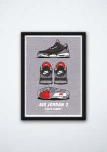 "POSTER - Air Jordan 3 ""Black Cement"" (COM MOLDURA)"