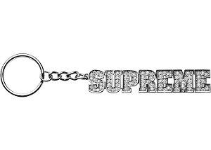 """SUPREME - Chaveiro Block Logo """"Silver"""""""