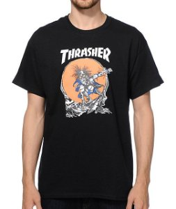 "THRASHER - Camiseta Skate Outlaw ""Black"""