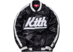 "KITH x Mitchell & Ness - Jaqueta Satin Warm-Up Los Angeles ""Black"""