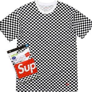 """SUPREME - Camiseta Hanes Unidade """"Checkered"""""""