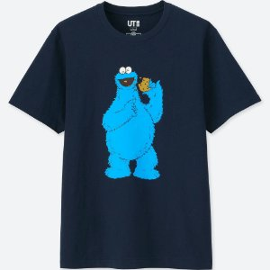 "UNIQLO X Kaws x Sesame Street - Camiseta Cookie Monster ""Navy"""