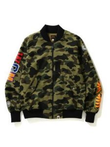 "BAPE - Jaqueta Gorotex Windstopper 1ST Camo Shark Sweat MA-1 ""Green"""