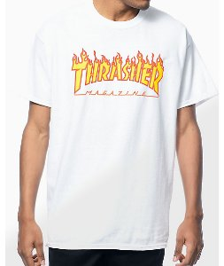 "THRASHER - Camiseta Flame Logo ""White"""