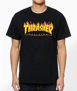 "THRASHER - Camiseta Flame Logo ""Black"""