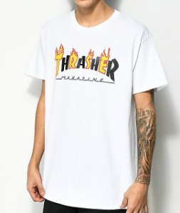 "THRASHER - Camiseta Mag Flame ""White"""