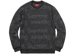 "SUPREME - Malha Jacquard Logo ""Black"""