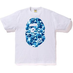 "BAPE - Camiseta ABC Big Ape Head Camo Blue ""White"""
