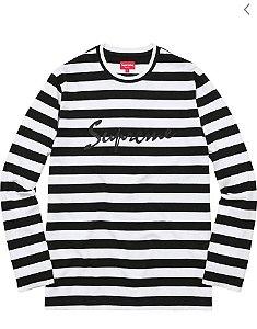 "SUPREME - Camiseta Medium Striped ""Black/White"""