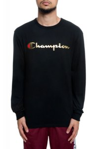 "CHAMPION - Camiseta Script Manga Longa Gold ""Black"""