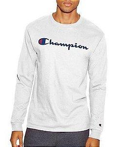 "CHAMPION - Camiseta Manga Longa Script Logo ""White"""