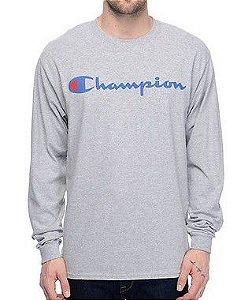 "CHAMPION - Camiseta Manga Longa Script Logo ""Grey"""