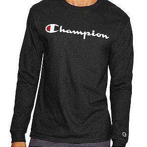 "CHAMPION - Camiseta Manga Longa Script Logo ""Black"""