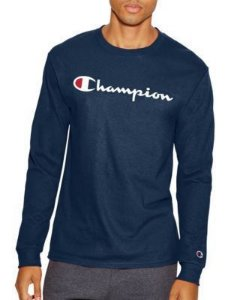 "CHAMPION - Camiseta Manga Longa Script Logo ""Navy"""