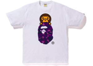 "BAPE - Camiseta Color Camo Milo on Ape Head ""White/Purple"""