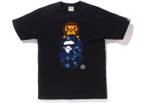 "BAPE - Camiseta Color Camo Milo on Ape Head ""Black/Blue"""