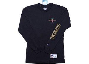 "Supreme x Champion - Camiseta Stacked C ""Navy"""