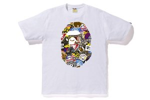 "BAPE - Camiseta Patched Big Ape Head ""White"""