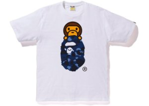 "BAPE - Camiseta Color Camo Milo on Ape Head ""White/Blue"""