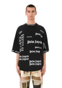 "Palm Angels - Camiseta Logo Print All Over ""Black"""