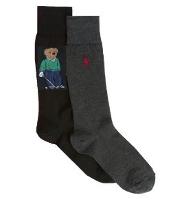 "Polo Ralph Lauren - Meias Polo Bear Pack c/2 ""Grey/Black"""