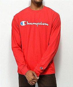 "CHAMPION - Camiseta Manga Longa Script Logo ""Red"""