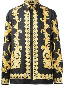"VERSACE - Camisa Baroque Print ""Blcak/Gold"""