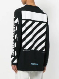 "OFF-WHITE - Camiseta  Manga Longa Temperature ""Black"""