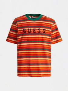 "Guess x J.Balvin - Camiseta Logo Print Striped ""Red/Orange/Green"""