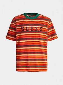 "ENCOMENDA - Guess x J.Balvin - Camiseta Logo Print Striped ""Red/Orange/Green"""