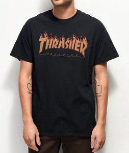 "THRASHER - Camiseta Flame Halftone ""Black"""