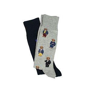 "Polo Ralph Lauren - Meias Bear Pack 2  All Over ""Grey/Navy"""