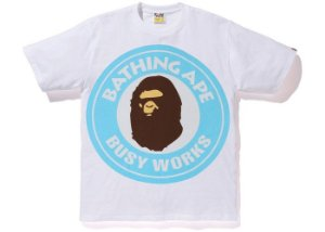 "BAPE - Camiseta Colorful Pigment Busy Works ""White/Blue"""