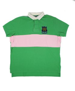 """POLO RALPH LAUREN - Camiseta Polo Vintage """"Verde/Rosa"""" -NOVO-"""