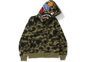 "BAPE - Moletom 1st Camo Shark Full Zip ""Green"""