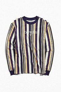 """GUESS - Camiseta Ashton Stripe """"Yellow/Purple/White"""""""