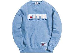 "Kith x Russell Athletic -  Moletom Varsity Logo ""Blue Shadow"""