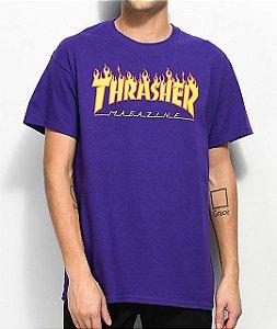 THRASHER - Camiseta Flame Logo Purple