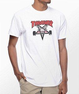 "THRASHER - Camiseta Two Tone Skategoat ""Branco"" -USADO-"